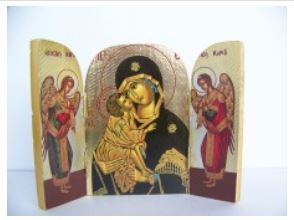 3 sided Tripticho Wooden Icon – Panagia (red)