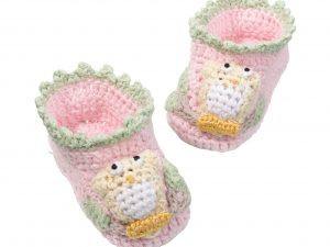Baby Crocheted Booties Pink with accents