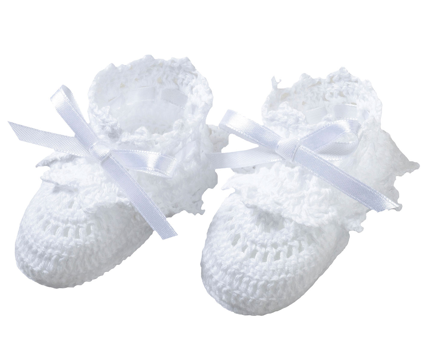 Baby White Crocheted Booties