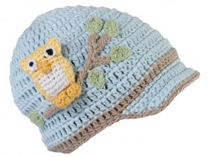 Blue Owl Crocheted Cap for Baby