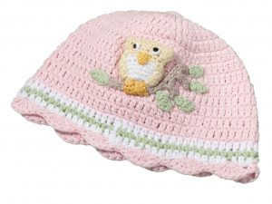 Pink Owl Crocheted Cap for Baby