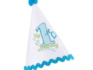 First Birthday Party Hat Blue Trim