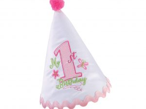 Lillian Rose First Birthday Party Hat Pink Trim
