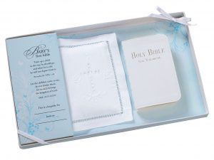 Lillian Rose White Baby Bible with Cotton Cover