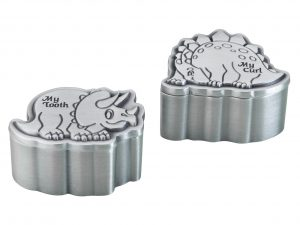 Pewter Dinosour Baby First Tooth and Curl Boxes