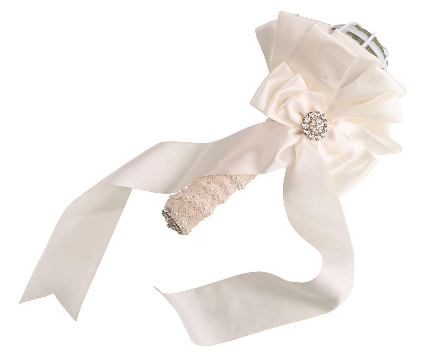 Ivory Satin Wedding Bouquet Holder