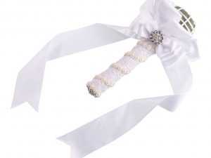 Lillian Rose White Satin Wedding Bouquet Holder