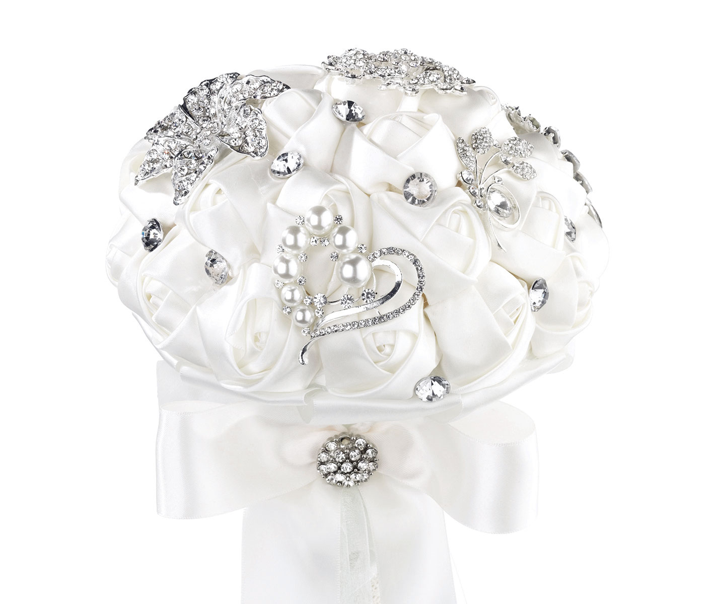 Lillian Rose White Crystal Flower Wedding Bouquet - Nias Collections