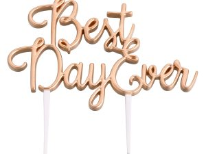 "Lillian Rose Gold ""Best Day Ever"" Cake Topper"