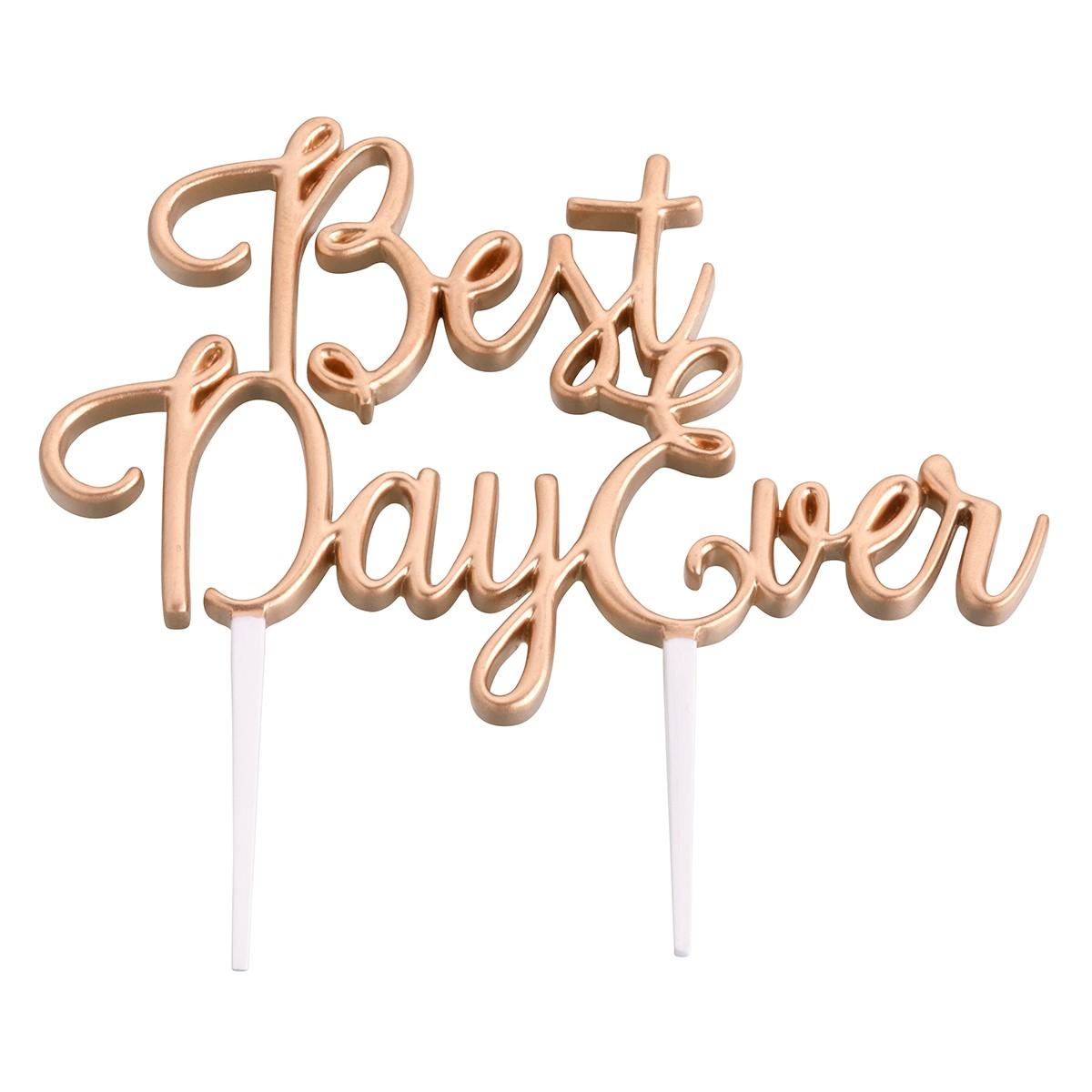 "Lillian Rose Gold ""Best Day Ever"" Cake Topper"