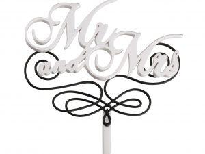 Lillian Rose Black & White Mr. & Mrs. Wedding Cake Topper