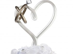 Lillian Rose Heart with Pair of Gold Wedding Rings Cake Topper