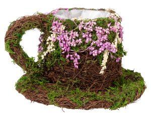 Rattan & Moss Teapot Basket Centerpiece