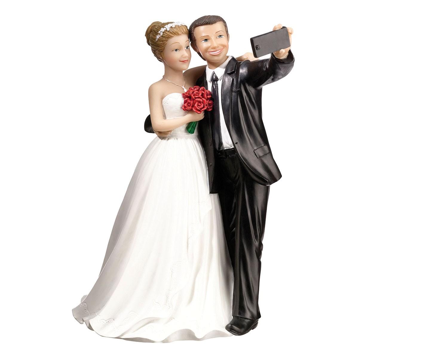"""Lillian Rose Bride & Groom """"Selfie"""" Cake Topper"""
