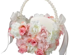 Lillian Rose Pink & White Floral Flower Girl Basket