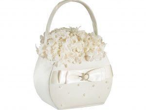 Lillian Rose Ivory Scattered Pearl Flower Girl Basket