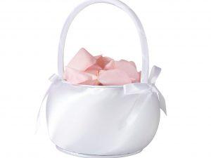 Lillian Rose White Satin Flower Girl Basket