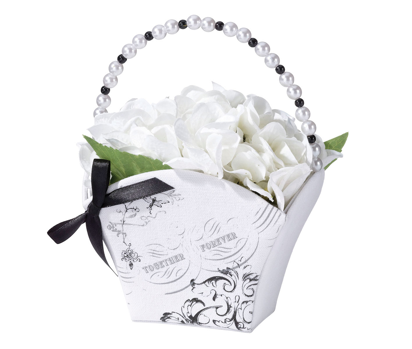 Lillian Rose Black White Together Forever Flower Girl Basket