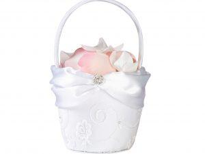 Lillian Rose Vintage White Lace Flower Girl Basket