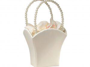 Lillian Rose Ivory Satin Flower Girl Basket