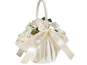 Lillian Rose Large Ivory Satin Flower Girl Basket