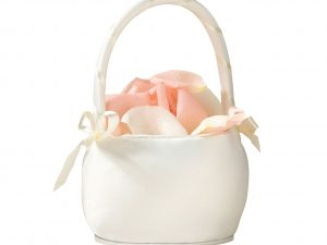 Lillian Rose Round Ivory Satin Flower Girl Basket