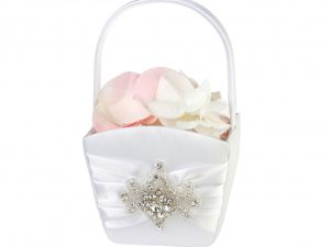 Lillian Rose Elegant White Jeweled Flower Girl Basket