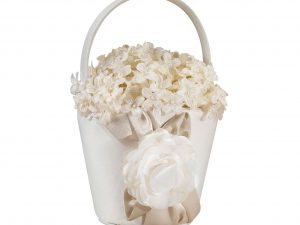 Lillian Rose Taupe Rose Flower Girl Basket