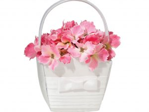 Lillian Rose White Pleated Silk Flower Girl Basket