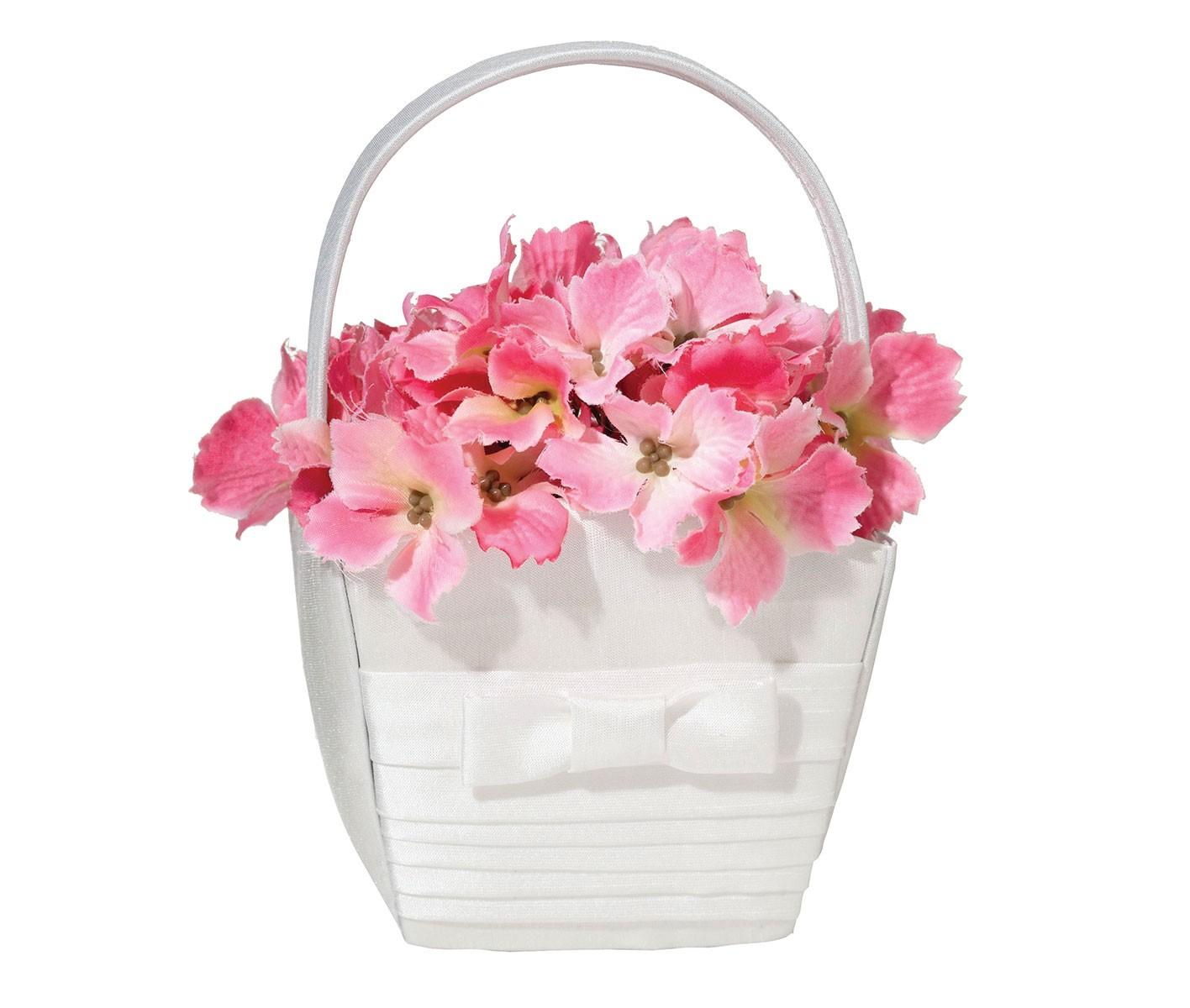 Lillian Rose White Pleated Silk Flower Girl Basket