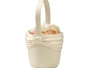 Lillian Rose Ivory Satin Sash Flower Girl Basket