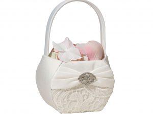 Lillian Rose Vintage Cream Lace Flower Girl Basket