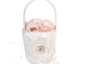 Lillian Rose Vintage White Rose Flower Girl Basket