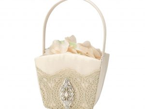 Lillian Rose Vintage Gold Lace Flower Girl Basket