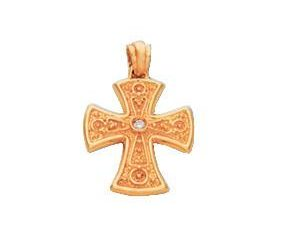 Byzantine Diamond Detailed Solid Gold Cross Pendant