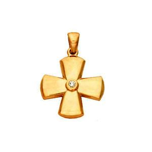 Byzantine Diamond Detailed Solid Gold Cross Pendant