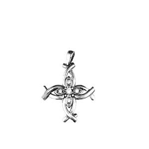 Byzantine Diamond Free Form Solid Gold Cross Pendant
