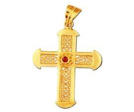 18K Byzantine Style Detailed Solid Gold Ruby Cross