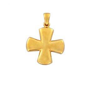 Byzantine Style Graceful Polished Solid Gold Cross Pendant