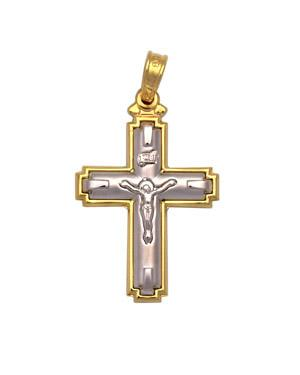 18K Solid Gold Byzantine Detailed Cross Pendant