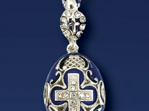 Egg Pendant, Fabergé style with cross and Swarovski crystals, blue