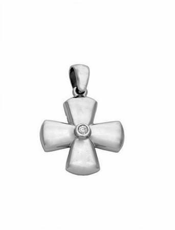 Byzantine Diamond Solid Gold Cross Pendant