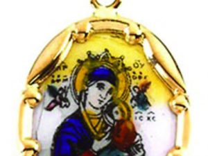 Virgin and Child Pendant, 14k yellow gold and porcelain