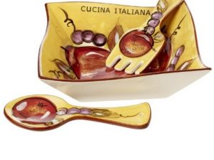 Cucina Italiana Ceramic Deep Dish 3 Pc Salad Bowl Set