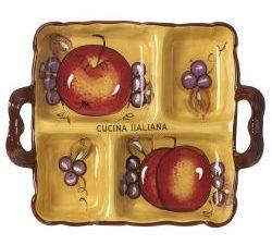 Cucina Italiana Fruit Decor 4 Section Serving Platter
