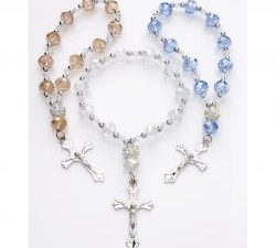Clear Rhinestone Crystal Women's Cross Stretch Rosary Beads Bracelet w/Silver Cross