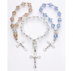 Clear Rhinestone Crystal Women's Cross Stretch Rosary Beads Bracelet w/Silver Cross
