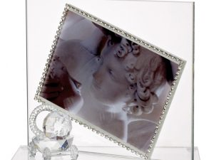 Baby Photo Frame with Swarovski Crystal Border and Crystal Pacifier