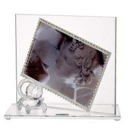 Baby Photo Frame with Swarovski Crystal Border and Crystal Stroller