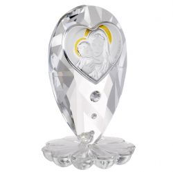 Mother & Child in 925 Silver on Italian Crystal Base